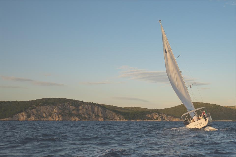 sailing, sailboat, windy, lake, water, coast, blue, sky