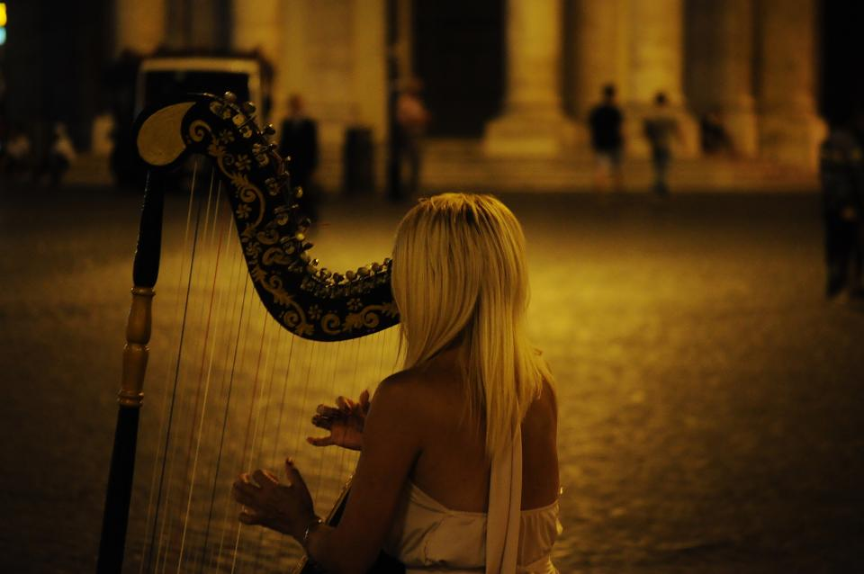 musician, music, harp, instrument, girl, woman, blonde, street