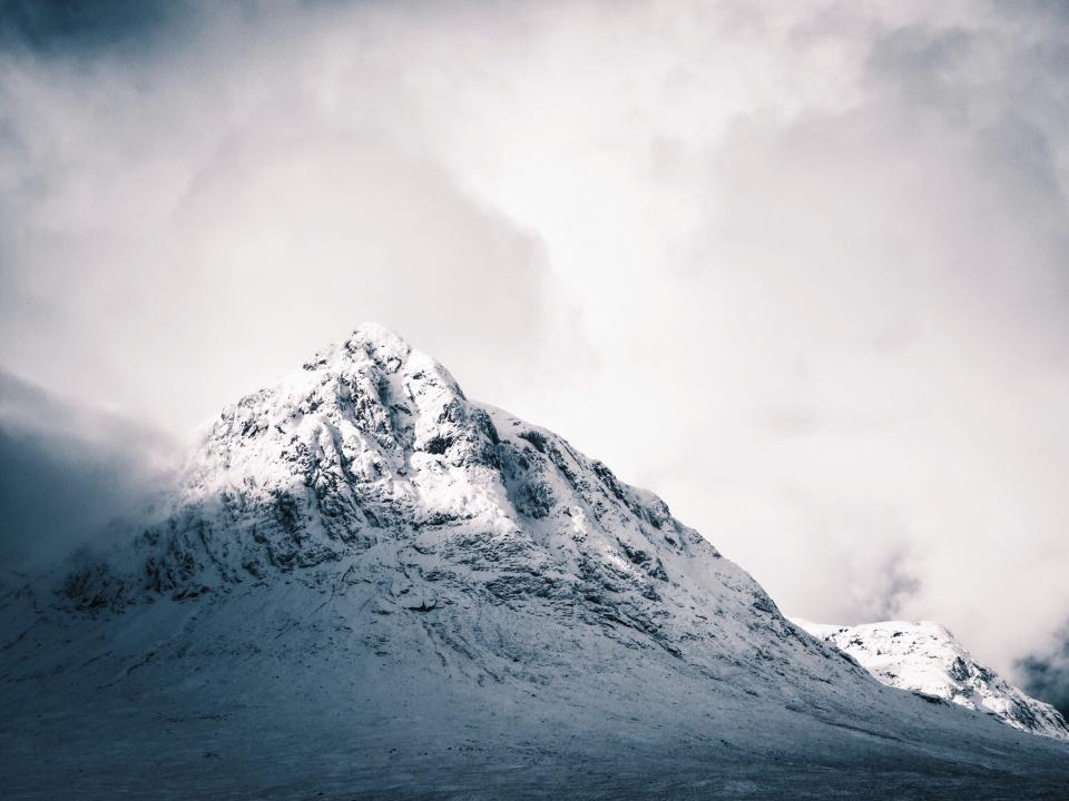mountains, snow, landscape, nature, cold, winter, sky, fog, foggy, clouds, cloudy