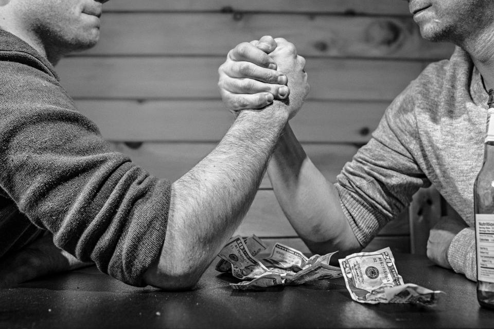 arm wrestling, money, bills, betting, gambling, hands, men, strength, strong, table