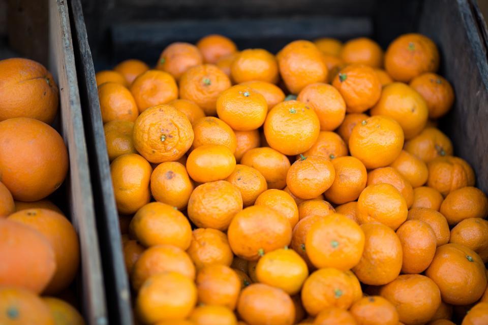 oranges, clementines, fruits, food, healthy, basket, market