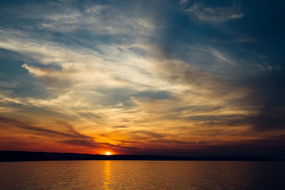 sunset, dusk, sky, clouds, horizon, lake, water, landscape, nature, outdoors