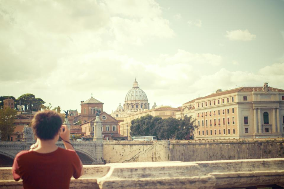 Vatican City, Rome, Ponte-Sant\'Angelo, city, woman, girl, photographer, tourist, architecture, buildings, people