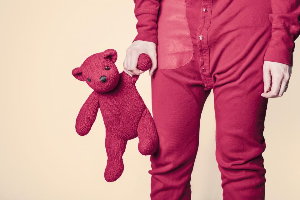 stuffed animal, teddy bear, red, onesie, clothes, hands, bedtime