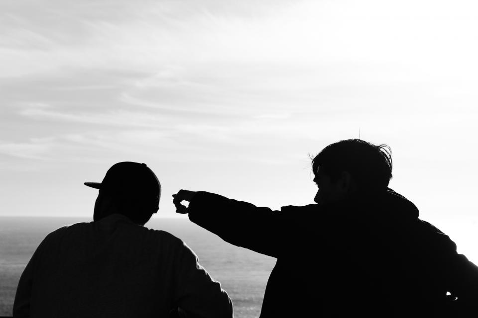 guys, men, guy, man, people, silhouette, shadow, pointing, sky, clouds, ocean, sea, black and white
