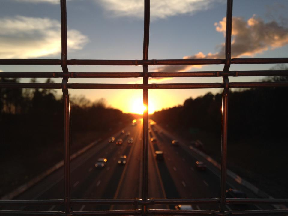sky, clouds, sun, sunset, cars, highway, road, cars, view