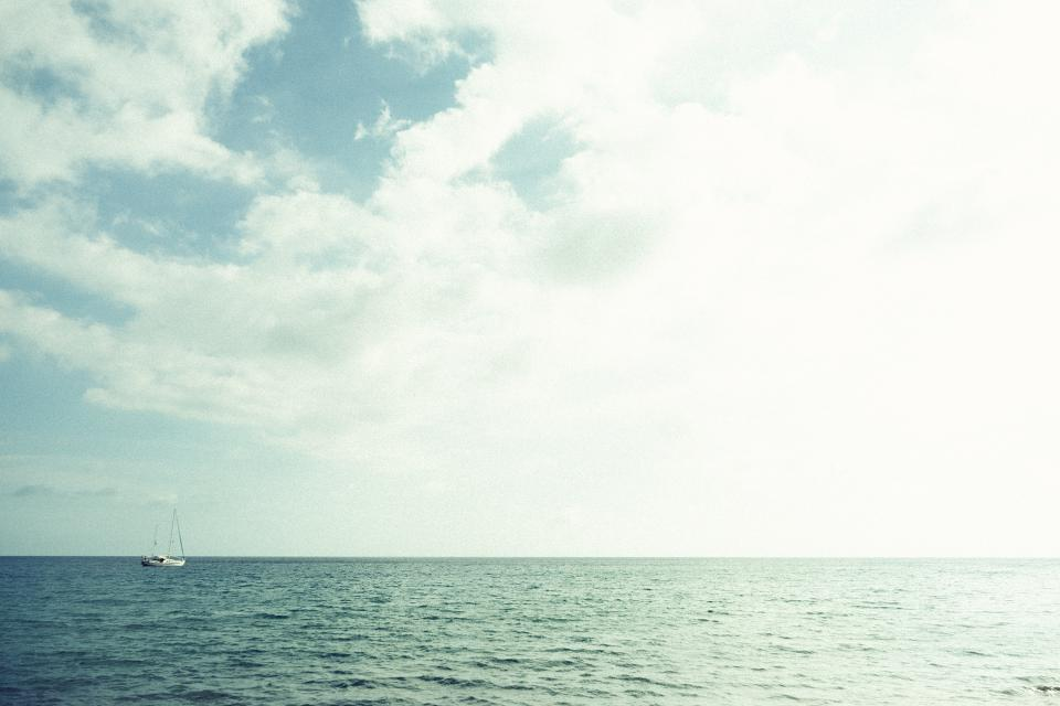 water, ocean, sea, sailboat, sailing, sky, clouds, sunshine