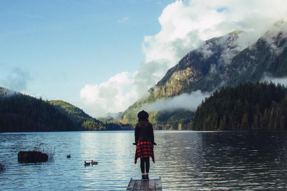 girl, woman, people, hat, jacket, coat, fashion, clothes, lake, river, water, dock, mountains, trees, landscape, nature, outdoors, adventure, sky, clouds, sunshine