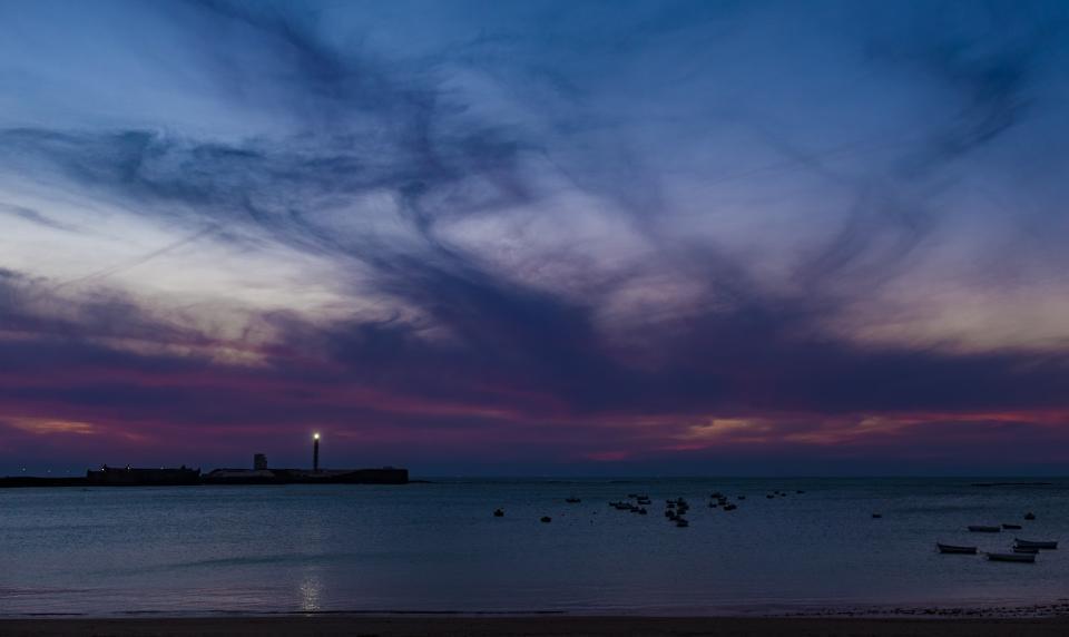 sunset, dusk, purple, sky, beach, ocean, sea, clouds, night, dark, evening, landscape, nature