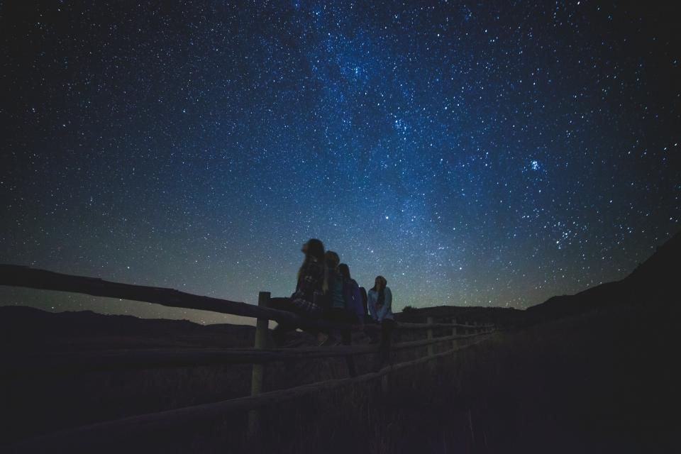 stars, galaxy, space, astronomy, night, dark, evening, girls, people, nature, outdoors, fence
