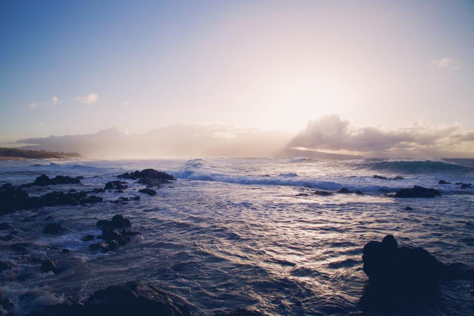 ocean, sea, water, sunset, sky, rocks, waves, nature