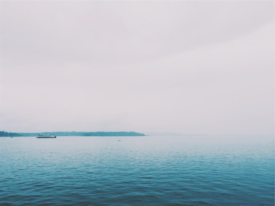ocean, sea, water, boat, ship, sky, grey, fog