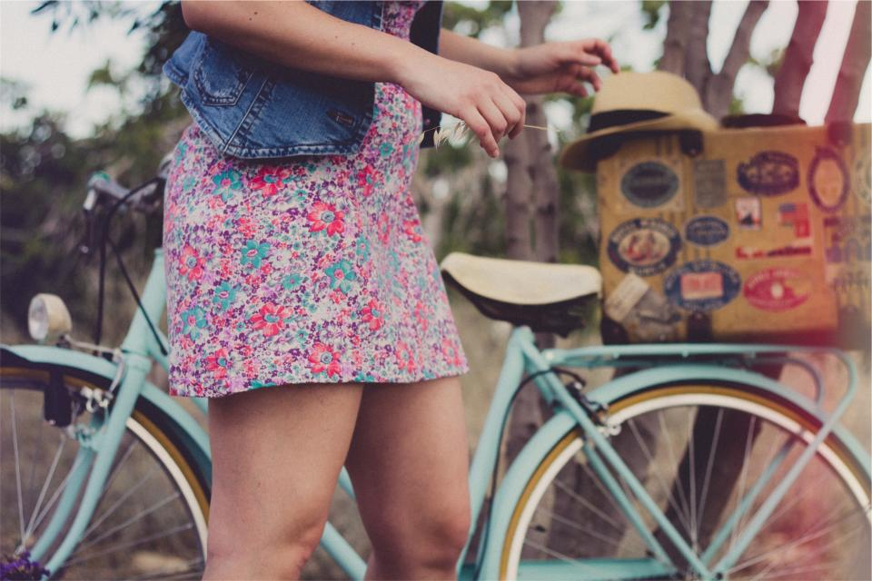 girl, woman, sundress, denim, vest, fashion, hat, fedora, bike, bicycle, people, summer
