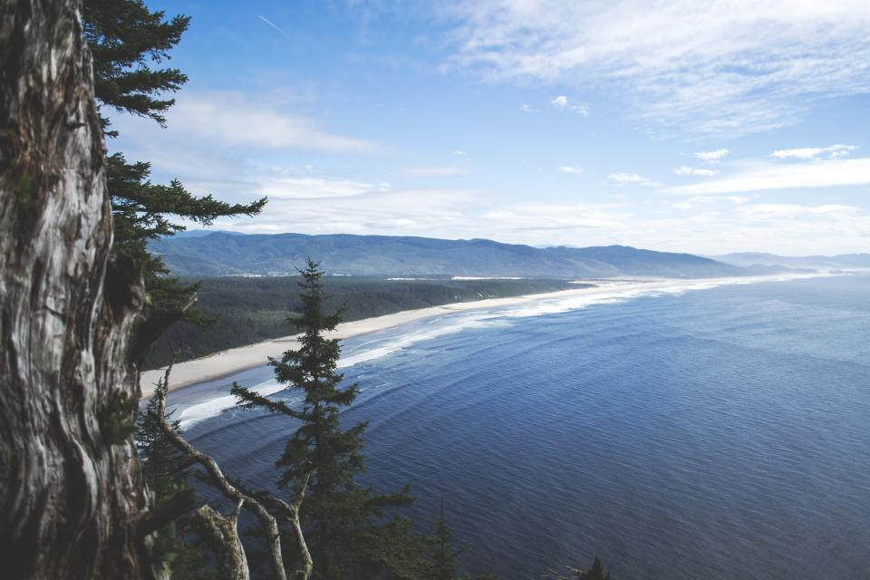 beach, sand, ocean, sea, water, waves, blue, sky, sunshine, vacation, travel, mountains, landscape, nature