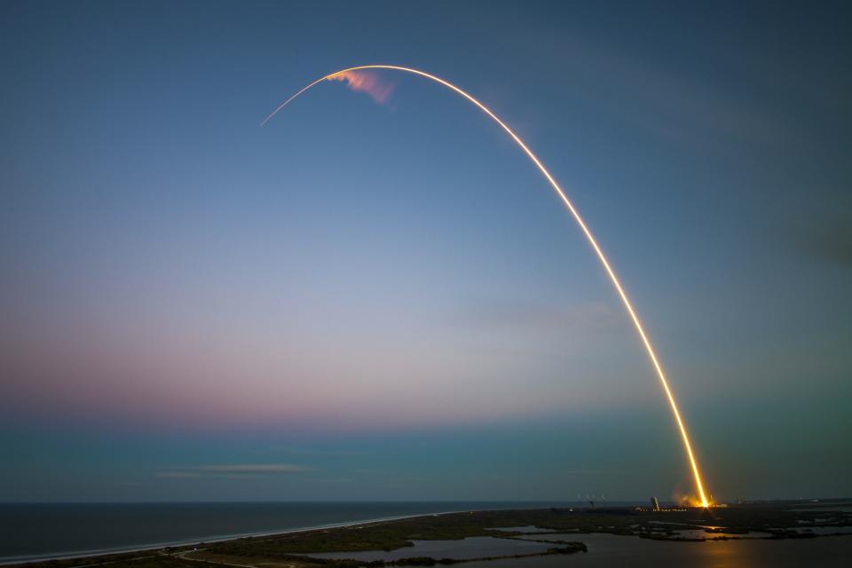 rockets, rocket ship, space, shuttle, sunset, dusk, sky, lights