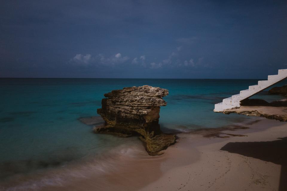 beach, sand, shore, ocean, sea, water, rocks, boulder