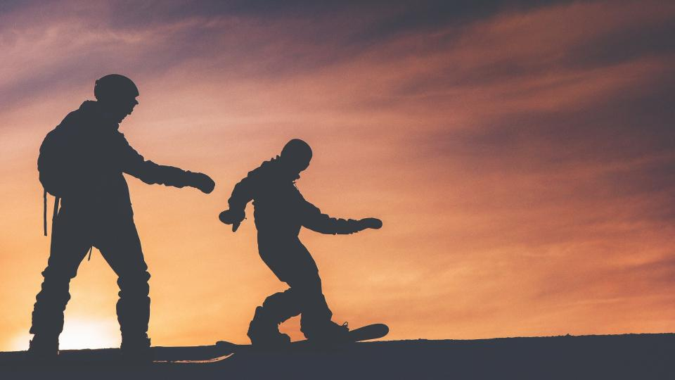 silhouette, snowboarding, dusk, sky, clouds, gradient