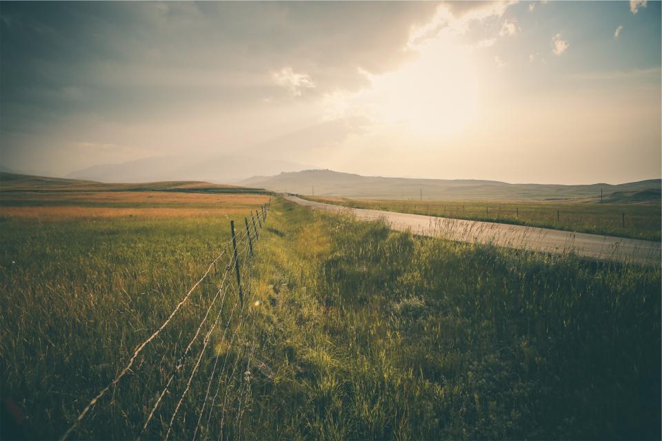 rural, road, landscape, grass, fields, mountains, sky, sunrise