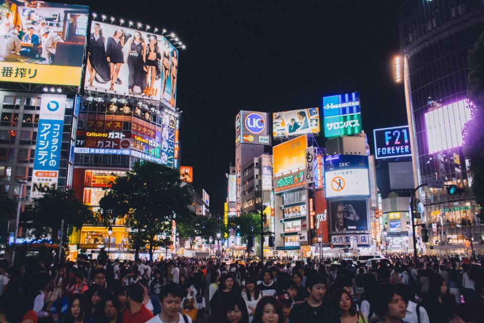 Shibuya crossing, Tokyo, Japan, Asia, people, crowd, busy, traffic, billboards, screens, lights, led, advertisements, city, architecture, night, evening, urban, walking, pedestrians