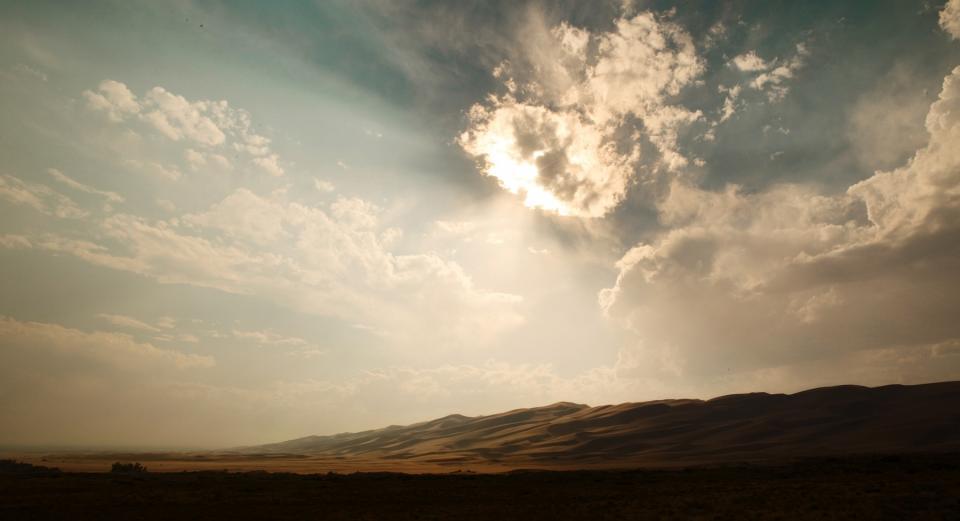 sky, clouds, sunlight, sunrays, sunny, desert, sand, hills