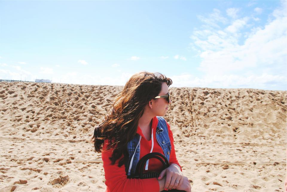 girl, beach, sand, sunglasses, sunny, long hair, brunette, pretty, beautiful, hoodie, vest, fashion, people, woman