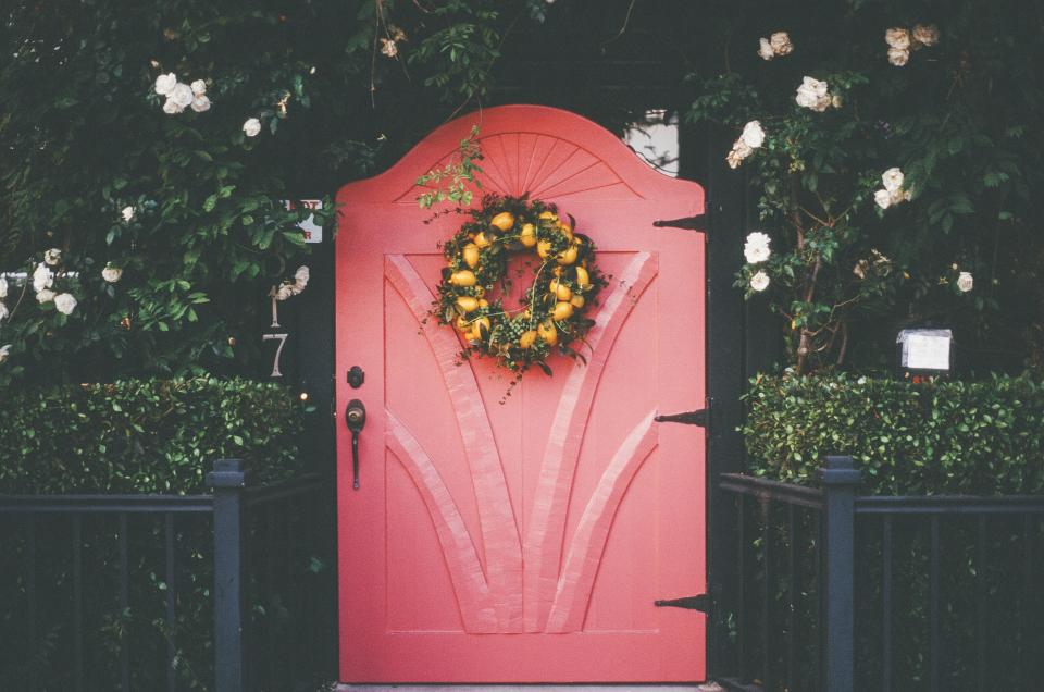 pink, red, door, wreath, flowers, plants, bushes, railing, entrance, house