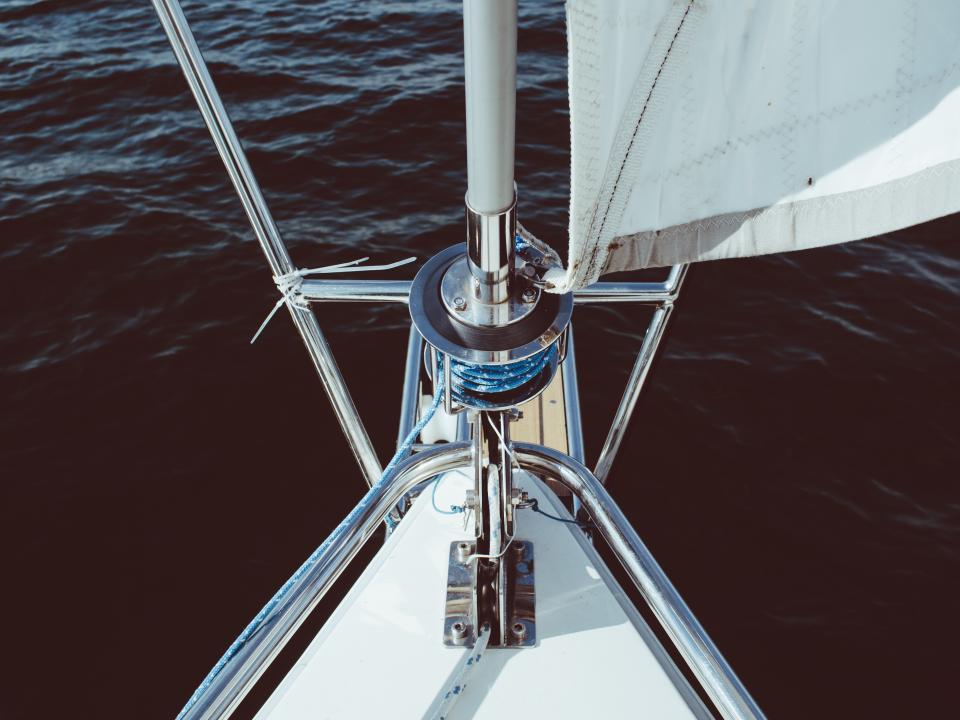 sailboat, rope, bow, water, sea