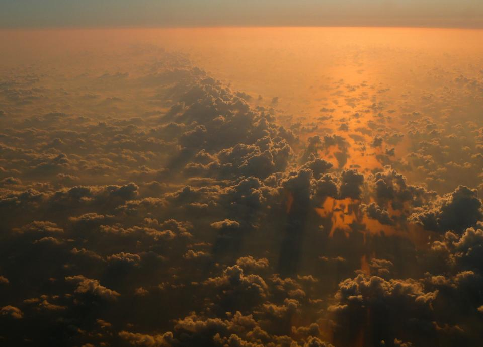 sunset, above the clouds, sky, view, aerial