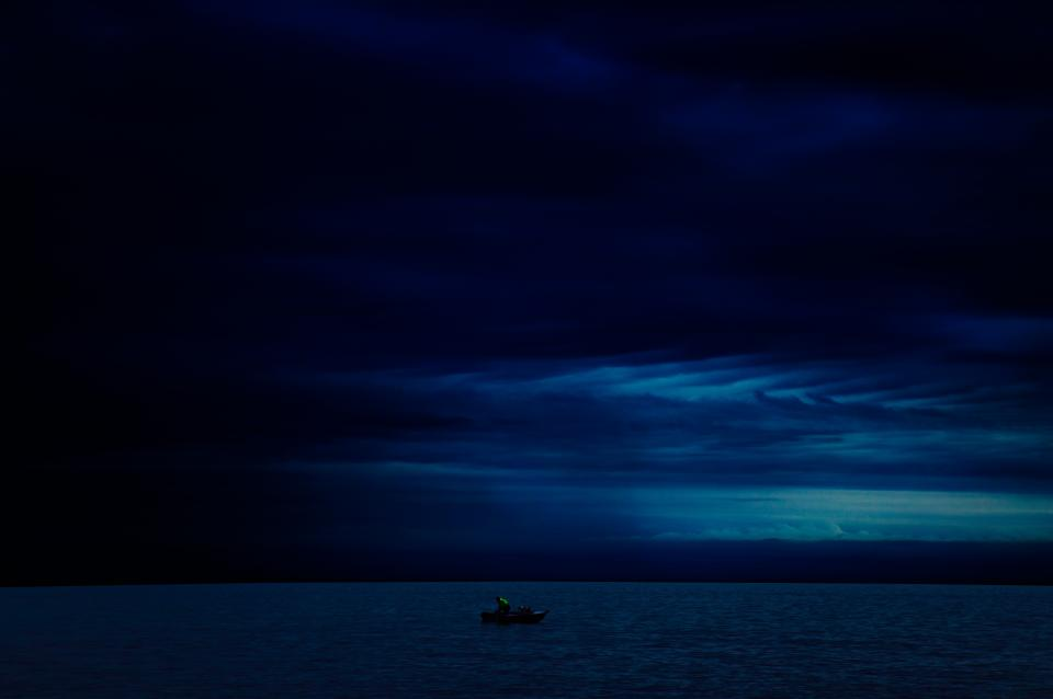 night, sky, clouds, cloudy, dark, storm, boat, ocean, sea, water, nature