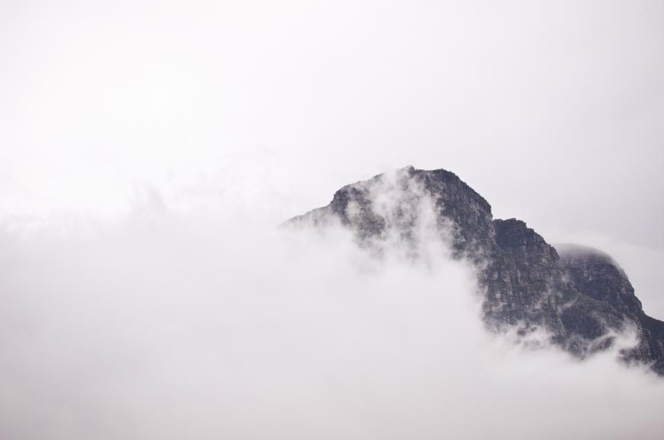 sky, clouds, fog, mountains, peaks, cliffs