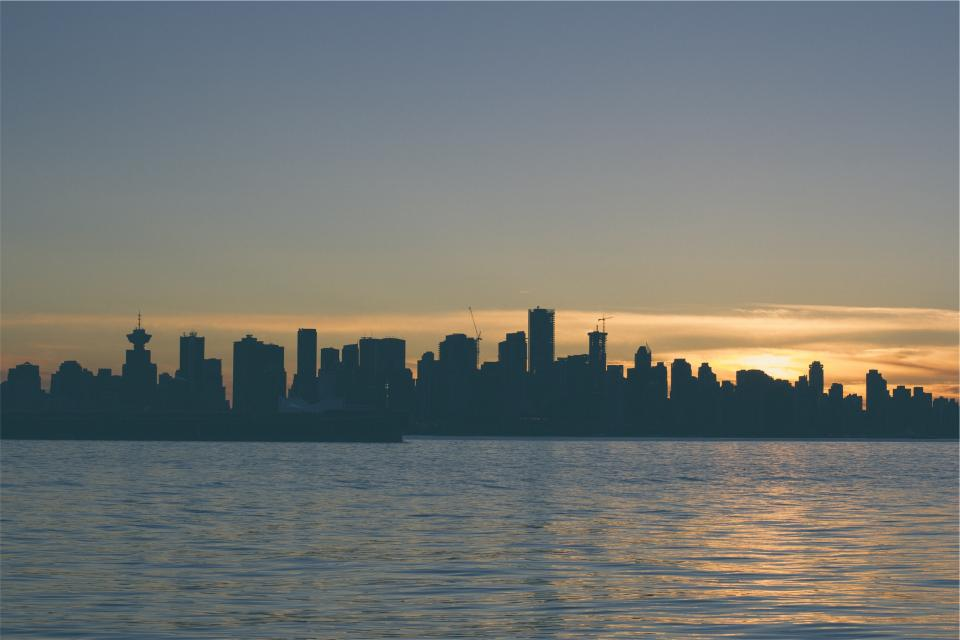 sunset, dusk, skyline, lake, water, buildings, towers, high rises, architecture, sky