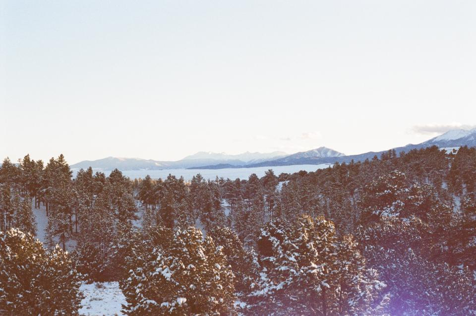 colorado, sunset, sky, mountains, peaks, trees, outdoors, snow, winter, cold, rockies