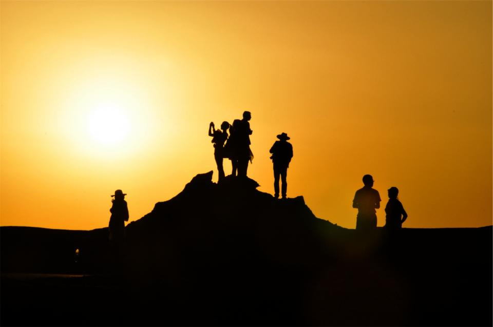 sunset, dusk, people, shadows, silhouette