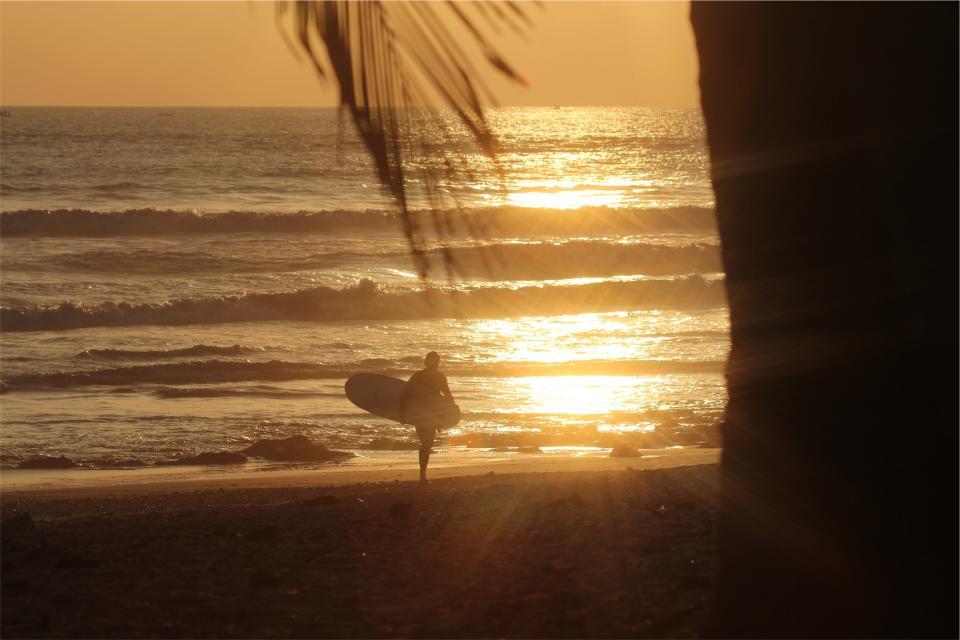 sunset, beach, sand, surfer, surfboard, waves, water, ocean, sea
