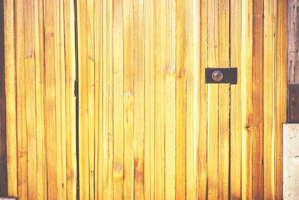 wood, fence, gate, keyhole