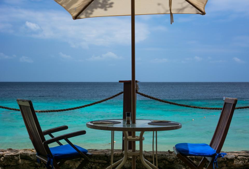 patio, chairs, table, umbrella, beach, sand, ocean, sea, tropical, sky, paradise