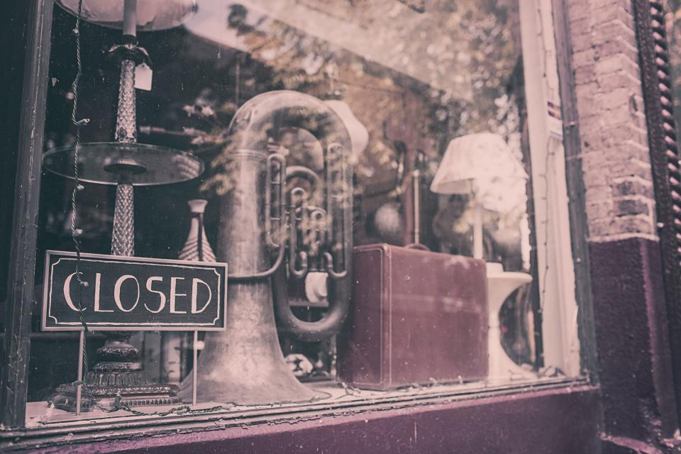 closed, store, shop, display, merchandise, tuba, instrument, luggage, suitcase, glass
