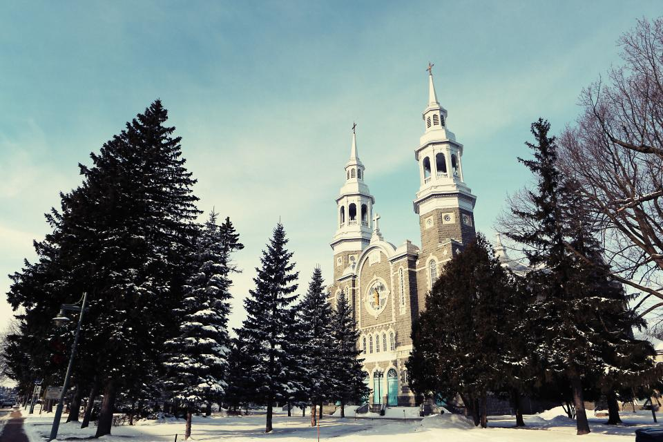 church, religion, christian, catholic, architecture, cross, bells, arches, winter, snow, cold, trees, branches, sky