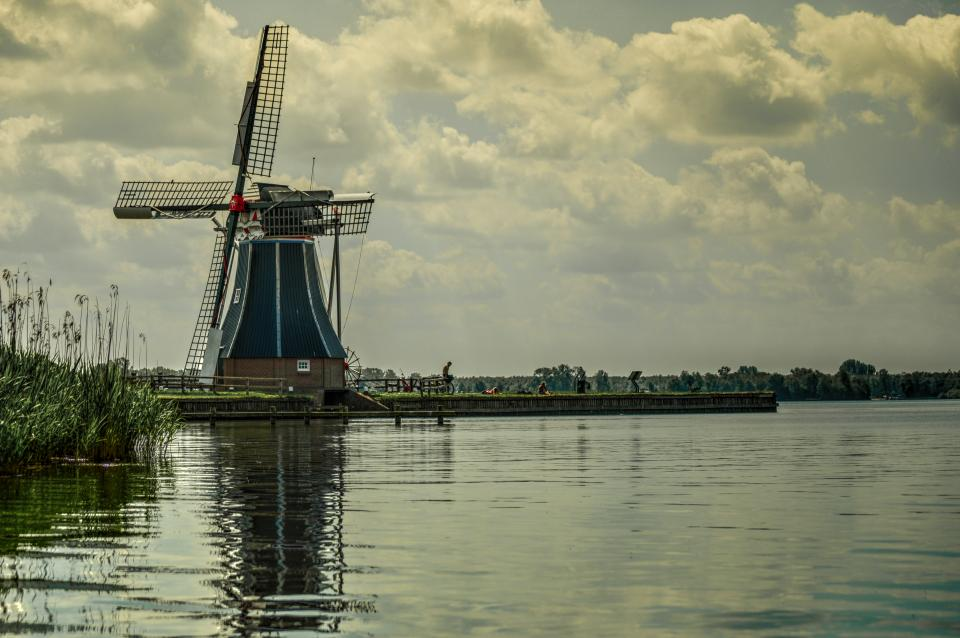 windmill, lake, water, sky, clouds