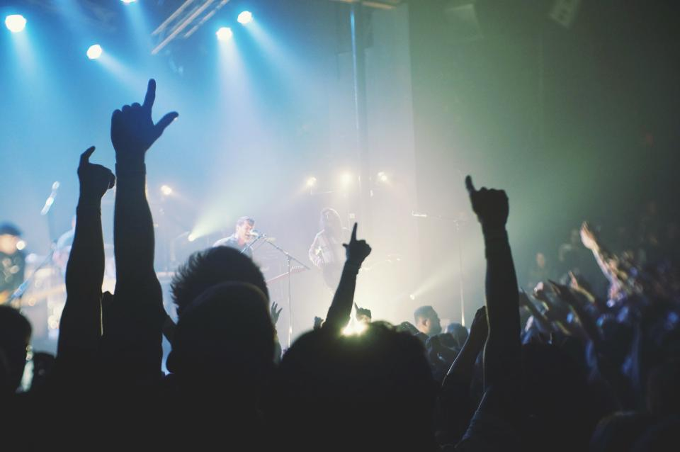 band, singer, musicians, music, concert, party, guitars, show, crowd, people, hands, lights, smoke, entertainment, light show, cheer