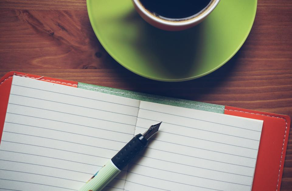 notebook, notepad, paper, pen, writing, work, creative, business, office, desk, coffee, cup