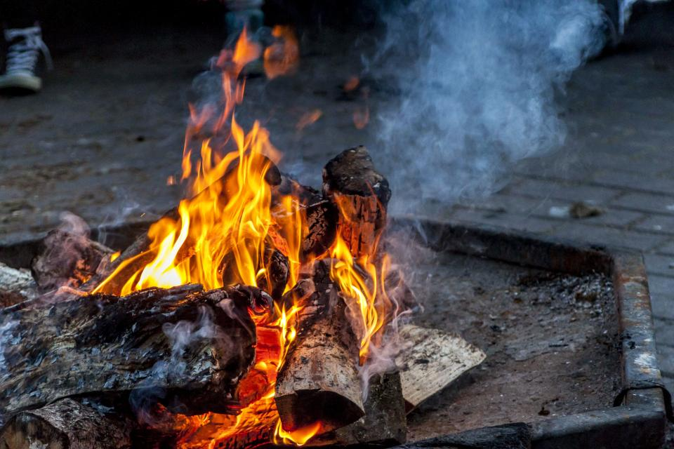 bonfire, flames, fire, wood, fire pit, smoke