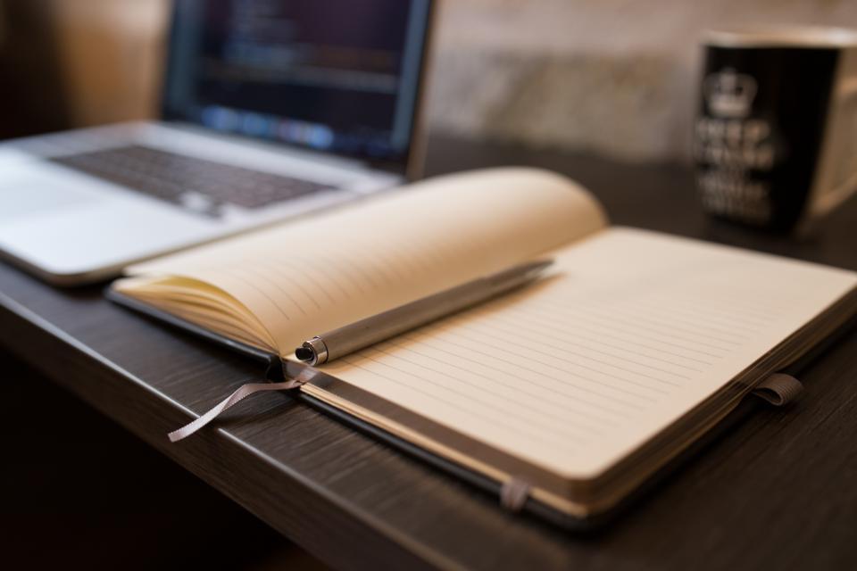 notebook, pen, notes, working, macbook, laptop, technology, office, desk, business