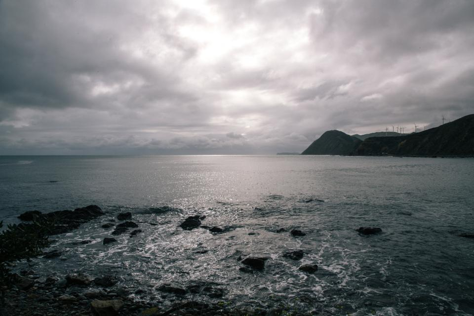 ocean, sea, rocks, water, coast, storm, clouds, cloudy, sky, dark, grey, mountains, landscape, nature