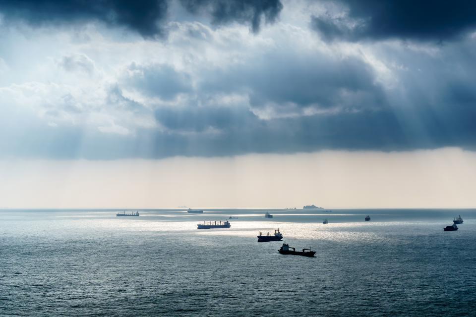 boats, ships, ocean, sea, water, sunbeams, sky, clouds, cloudy, storm