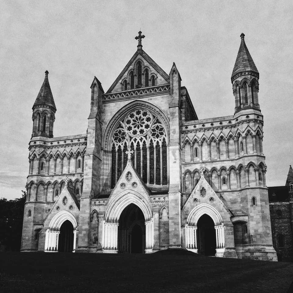 church, building, structure, architecture, black and white, cathedral, cross, catholic