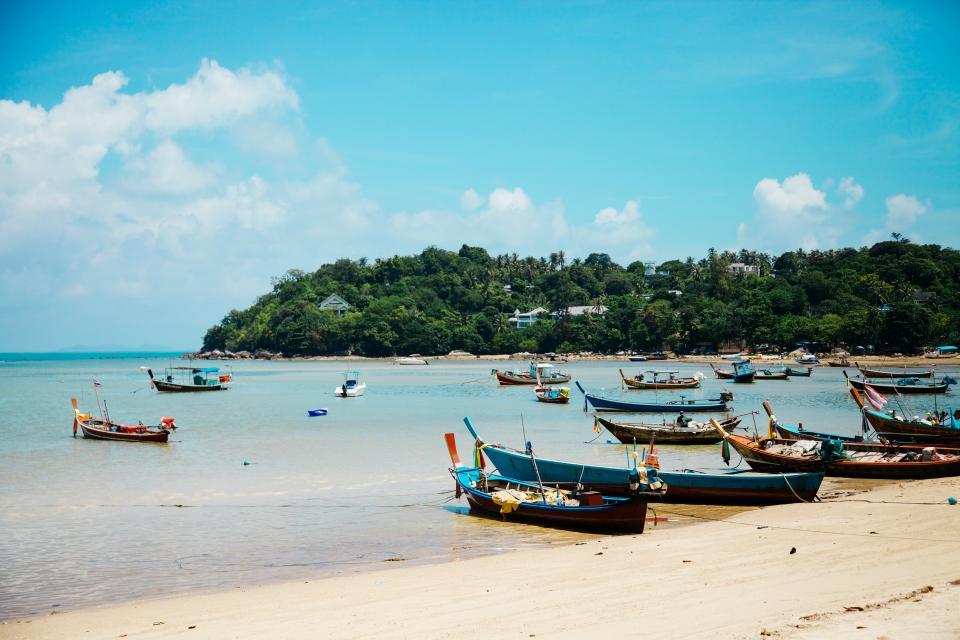 beach, sand, boats, shore, coast, island, blue, sky, sunshine, summer, vacation, travel, trip