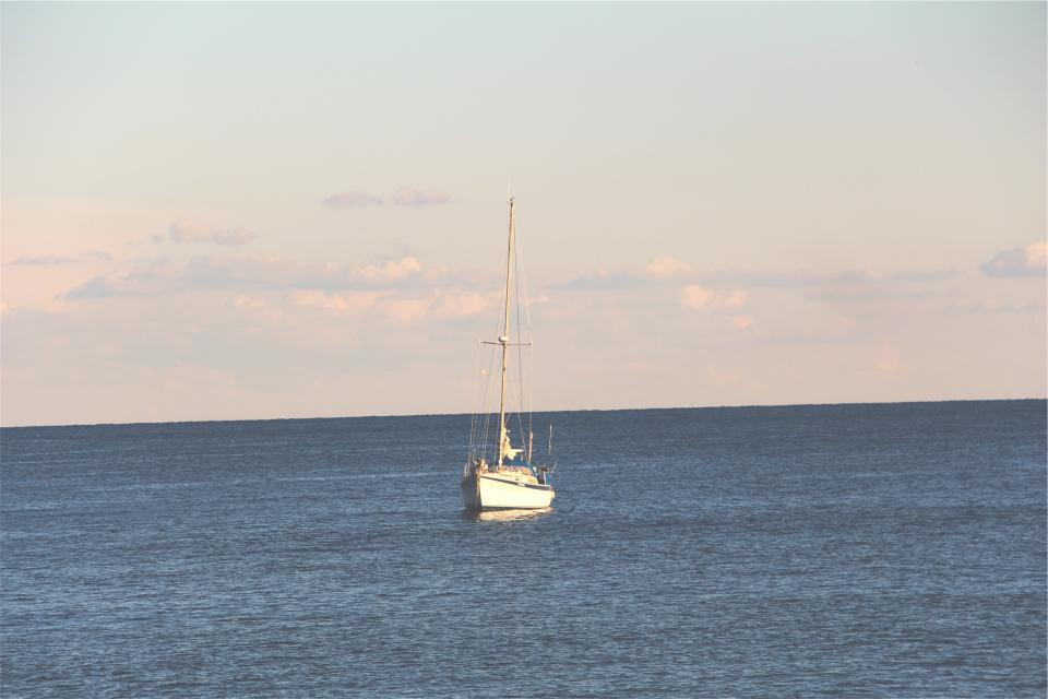 sailboat, ocean, sea, water, horizon, sky, sunshine