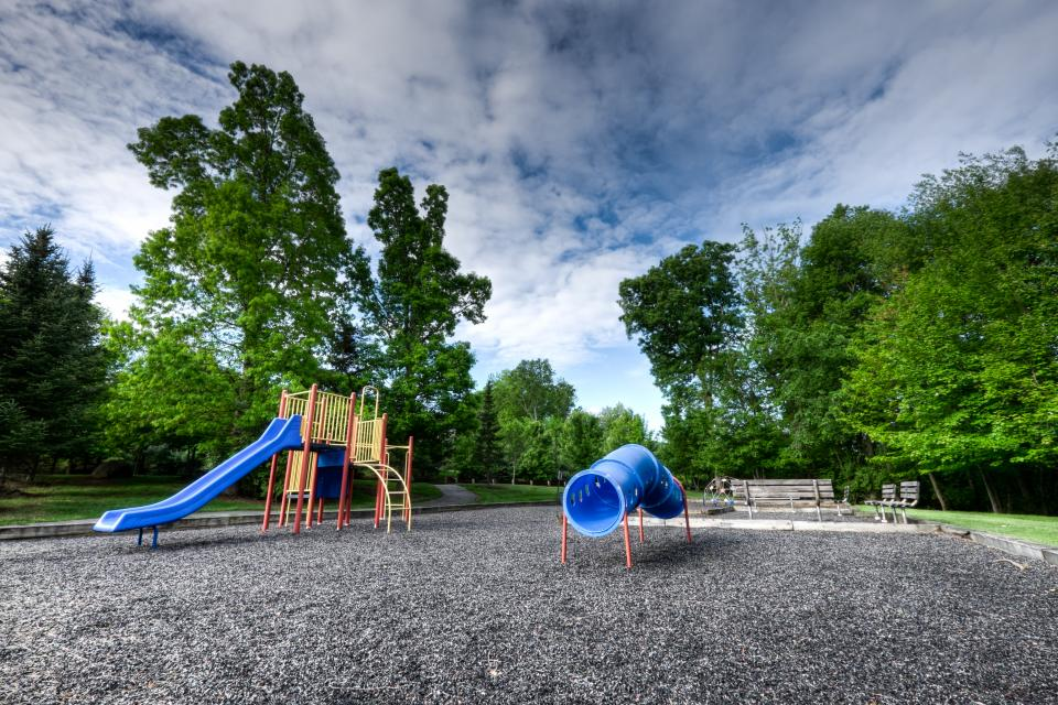 playground, play set, park, suburbs, slide, fun, playing, spring, trees, sky, clouds