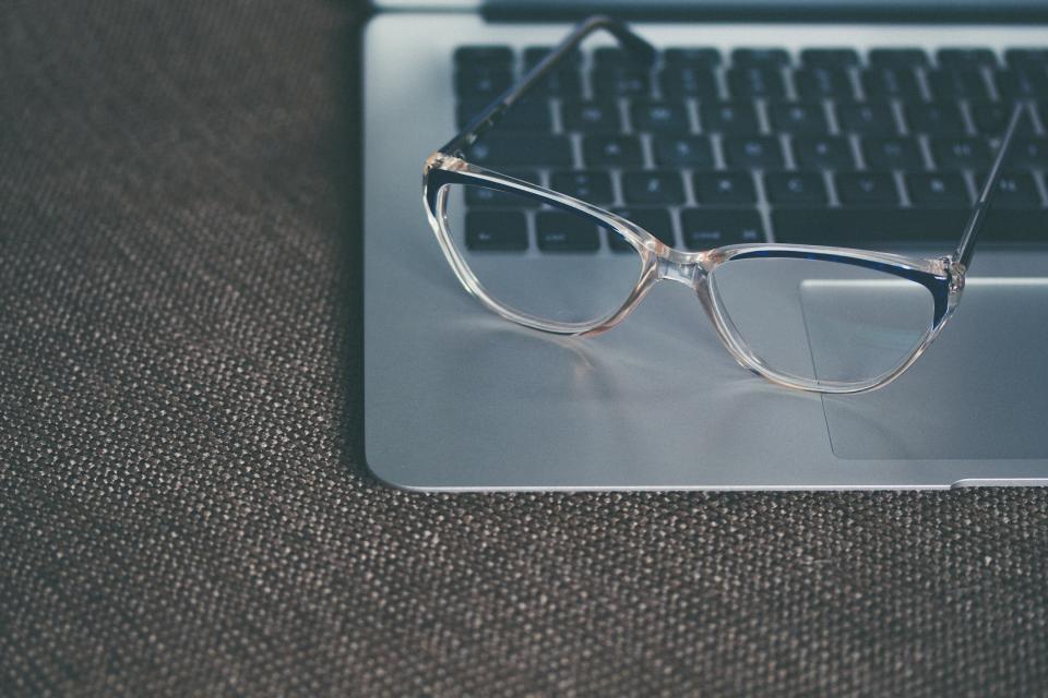 eyeglasses, macbook, laptop, computer, technology, business, work